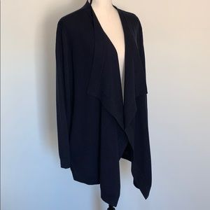 Theory 100% merino navy wool open front cardigan